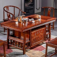 茶桌椅组合茶具套装一体实木功夫茶台简约茶几家用茶艺桌小泡茶桌 八骏桌 板面加厚款 整装