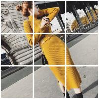 秋装针织连衣裙女中长款修身高领毛衣紧身包臀裙子秋冬开叉打底裙