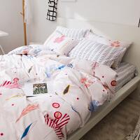 床单四件套简约全棉全棉学生床竖笠式4件套时尚小清新床上用品定制