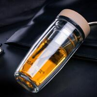 西艾双层玻璃杯便携水晶带盖过滤杯子男士水杯达康书记同款茶杯