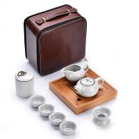 旅行茶具套装便携包家用简约小日式陶瓷茶杯汝窑功夫茶具干泡茶盘 韵玉壶月白竹盘皮包 款式十一