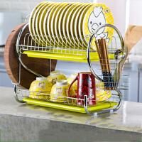 碗架 多功能晾洗放碗碟沥水架盘子刀架厨房餐具碗筷收纳架厨房置物架 绿色双盘砧板款 加粗加厚