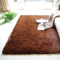 真爱美家 超顺滑加厚丝毛 客厅地毯 茶几地毯 卧室地毯 咖啡色