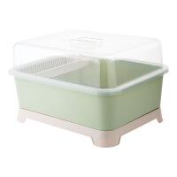 【好货】带盖放碗架装碗筷架子收纳箱 厨房盘子收纳盒沥水架收纳架 淡 绿