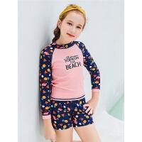 保守分体长袖平角裤带胸垫夏季游泳装女童中大童加大码儿童泳衣