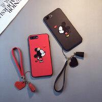 刺绣卡通款iphonexs max手机壳苹果11pro挂绳6splus女7/8情侣xr红