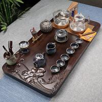 【新品热卖】实木茶盘茶具套装家用简约紫砂整套功夫茶具全自动玻璃烧水壶 19件