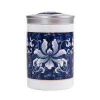 唐丰珐琅彩陶瓷茶叶罐青花便携直身罐绿茶醒茶罐描金存茶