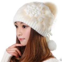 韩版潮秋冬天新款可爱保暖粉 毛线帽子女白色护耳针织帽
