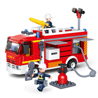 儿童玩具车男孩119消防车玩具拼装积木4-6岁开发智力7男童8 水罐消防车【343颗粒 2个消防员】