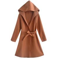 毛呢外套女秋冬新款韩版连帽收腰显瘦气质纯色中长款呢子大衣