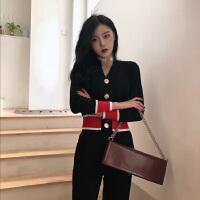 2018秋冬季新款女装韩版时尚气质名媛小香风针织毛衣两件套装女潮 黑色套装