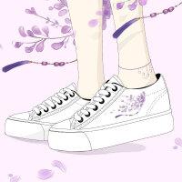 艾米与麦麦2019春季新款中国风文艺清新小白鞋女厚底内增高帆布鞋学生百搭休闲鞋古风鞋子坡跟显瘦的女鞋