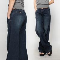 新款 黑色深蓝色牛仔休闲裤 大腿裤 阔脚裤 牛仔裤女款肥腿裤 深蓝色 1007