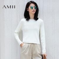 AMII[极简主义]秋冬女修身圆领套头纯色短款长袖薄款针织毛衣