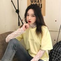 超仙时尚套装夏季韩版宽松字母圆领T恤+甜美蕾丝长袖内搭两件套女