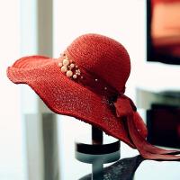 遮阳帽女防晒大沿帽折叠蝴蝶结波浪边沙滩帽女夏天网红草帽可折叠 可调节