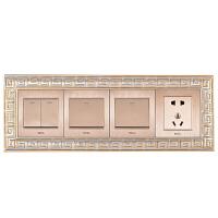 86欧式中式现代树脂插座装饰双开关贴墙贴面板保护套创意118型