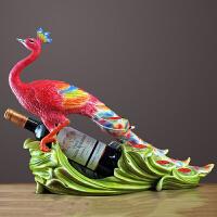 孔雀红酒架摆件欧式创意奢华摆设高档乔迁新居礼品酒柜家居装饰品创意红酒架装饰摆件