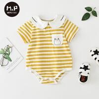 婴儿宝宝条纹可爱三角哈衣夏季婴儿服薄款宝宝外出连体衣