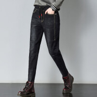 加绒牛仔裤女新款韩版大码高腰宽松哈伦裤冬季加厚显瘦小脚棉裤子