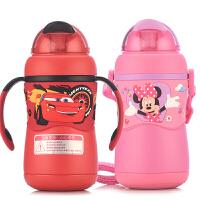 迪士尼 双耳防喷学饮杯(背带+双手柄)随心换320ML儿童吸管保温水杯子 带重力球
