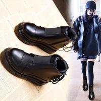 松糕厚底马丁靴女英伦风短靴秋冬季女鞋新款百搭棉鞋加绒靴子