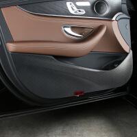 适用于2019款奔驰新E级车门防踢垫防保护垫改装内饰碳纤维贴纸膜