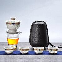 唐丰旅行茶具陶瓷一壶四杯玲珑旋转自动泡茶盖碗户外便捷包快客杯