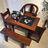 老船木茶桌现代中式功夫茶台实木家具小型阳台简约茶几茶桌椅组合 整装