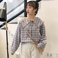 三木子快时尚女装~春夏新款衬衫双层领格子系带长袖上衣