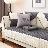 沙发垫北欧防滑布艺四季通用真皮全包套罩实木冬季灰色坐垫子