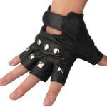 男式羊皮半指手套户外铆钉骑行手套健身街舞表演手套