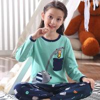 中大童女童睡衣家居服套装薄儿童睡衣女夏长袖春秋季女孩童装棉