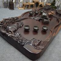 黑檀木茶盘 整块实木 茶海茶托特大 艺术雕龙豪华 功夫茶具