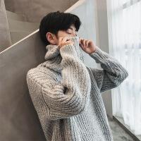 男士冬季高领毛衣韩版潮流学生加厚针织衫宽松毛线衣情侣针织外套 图片色 图片色