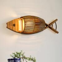 北欧简约创意壁灯咖啡厅酒吧茶室客厅餐厅灯竹编灯鱼形壁灯创意灯饰 含40W爱迪生灯泡