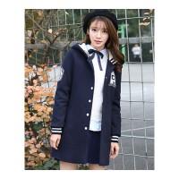 少女冬装外套初高中生春季外套女韩版风衣初中生卫衣中长款棒球服