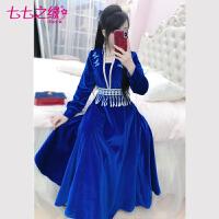 七七之缘原创轻国风长裙冬装新款女装深蓝色韩国绒蝴蝶连衣裙