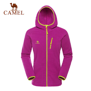 camel骆驼户外抓绒衣 女款 秋冬新款开衫连帽保暖抓绒衣