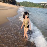 中大童儿童游泳衣宝宝沙滩温泉泳装女童时尚V领蕾丝连体泳衣
