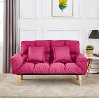【品牌特惠】懒人沙发小户型沙发床单双人沙发简易折叠沙发床榻榻米卧室小沙发 枚红色 买就送两个抱枕 1.8米-2米