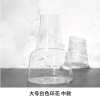 花瓶透明玻璃花瓶黑白印花香薰瓶水培插花装饰摆件 大号白色印花 中款