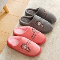 拖鞋 男士女士卡通加厚保暖室内防滑棉鞋冬季新款韩版情侣时尚休闲舒适家居鞋