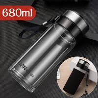 富光玻璃杯大容量水杯茶杯透明带盖过滤男泡茶单层便携杯子500ml抖音