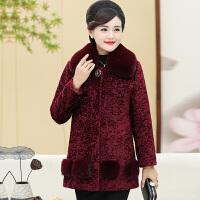 羊剪�q外套女����短款40-50�q中年冬季呢子大衣中老年秋冬�b毛呢