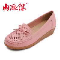 内联升女鞋布鞋牛皮鞋皮凉鞋护士鞋 时尚休闲老北京布鞋 4564C/30168