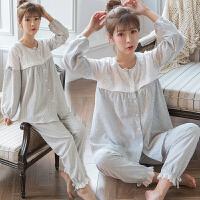 棉麻哺乳睡衣秋季韩版甜美产后家居服透气舒适外穿月子服开衫套装ZT-08