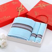 新品毛巾礼盒套装毛巾浴巾礼盒三件套/套装情侣结婚寿宴回礼生日祝寿公司礼品 140x70cm