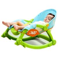 婴儿摇椅躺椅安抚椅宝宝睡篮床轻便折叠多功能哄娃宝神器新生儿BB 苹果绿 送凉席蚊帐